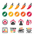 chili icon set vector image