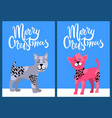 christmas postcards with congratulation and dogs vector image vector image