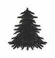 christmas tree black and white vector image