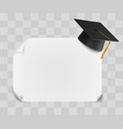 college or university graduation cap and diploma vector image