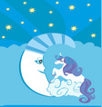 cute magic unicorn and moon vector image