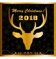 Elegant merry christmas card with golden deer vector image