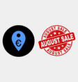 euro map marker icon and grunge august sale vector image vector image