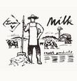 farmer pitchfork meadow cows label dairy vector image vector image