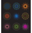 Fireworks icons set on black background vector image vector image