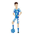 football player character showing actions vector image vector image