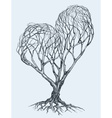 Graphic heart shaped tree sketch vector image
