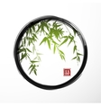 Green bamboo in black enso zen circle vector image vector image