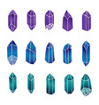 hand drawn crystals and gems set isolated vector image