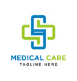 health logo with initials s vector image vector image