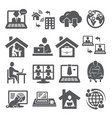 home working icons on white background vector image vector image