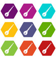indian guitar icon set color hexahedron vector image vector image