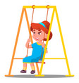 little girl having fun on a swing in the vector image