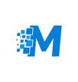 logo letter m blue blocks cubes vector image