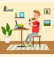 man at home young guy sits in front a laptop vector image vector image