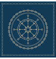 Marine emblem with ships wheel vector image vector image