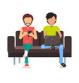 men sitting on sofa poster vector image