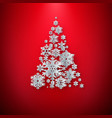merry christmas greetings card white paper cut vector image