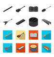 musical instrument blackflet icons in set vector image