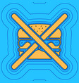 no burger sign sand color icon with black vector image vector image