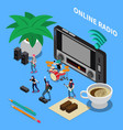 online radio isometric composition vector image vector image
