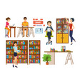 people with books in library picks up material vector image
