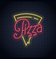 pizza neon logo on wall background vector image vector image