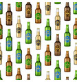 realistic detailed 3d glass beer bottles seamless vector image vector image