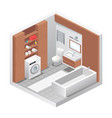realistic isometric bathroom vector image