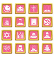 religious symbol icons pink vector image vector image
