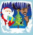 santa claus with a reindeer and christmas tree vector image vector image