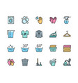 set laundry and cleaning color line icons vector image