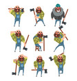 set of funny bald lumberjack in different poses vector image vector image