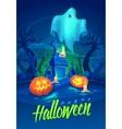 Spooky graveyard Halloween cardposter vector image vector image