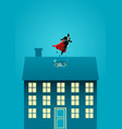 superhero businessman flying through the roof vector image vector image