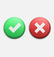 tick and cross signs green checkmark ok and red x vector image