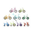 various type of kids bikes set colorful bicycles vector image vector image
