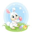 white easter bunny character paints easter egg vector image vector image