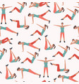 Woman fitness seamless pattern