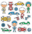 racing stickers set vector image