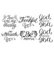 6 hand lettering quotes be thankful joyful vector image vector image