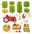 apple garden with crates and barrels vector image vector image