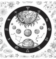 astrology concept with planets hand drawn vector image vector image