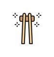bamboo sushi sticks chopsticks flat color vector image vector image