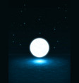 big bright glowing ball like the moon above the vector image vector image