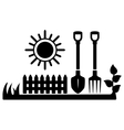 black icon with sun and gardening tools vector image