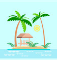 bungalows under palm trees on the island vector image