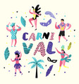 carnival doodle with dancing character people vector image