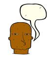 cartoon bald tough guy with speech bubble vector image