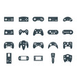 cartoon silhouette black gamepad icon set vector image
